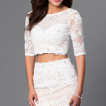 Short Two Piece Lace Half Sleeve Dress