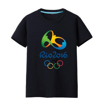 Rio 2016 Olympic Games Round Neck T-Shirt Commemorative Tees-XXL Black