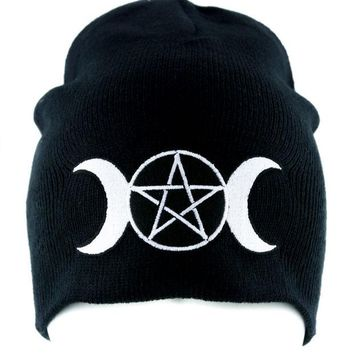 ac spbest Triple Goddess Wicca Pentagram Beanie Knit Cap Pagan Clothing Three Moon Witchcraft