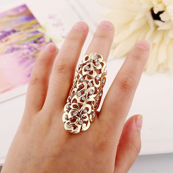 Bohomia Style Fashion Charm Rhinestone Pierced Full Finger Armor Joint Knuckle Hollow Out Ring free shipping