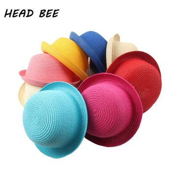 [HEAD BEE] Fashion Children Straw Hat Baby Lovely Summer Style Sun Hat for Kids Girls and Boys Lovely Solid Floppy Beach Cap