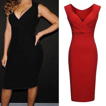 Women Dress V Neck Sleeveless Cocktail Party Dresses Slim Fit Casual Work Wear Bodycon Solid Red Vested