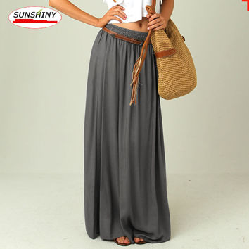 SUNSHINY Plus Size Maxi Gray Top Quality Slim Skirt Long Lining Excellent Floor Length Plus Size Pleated Chiffon Skirt AS-19