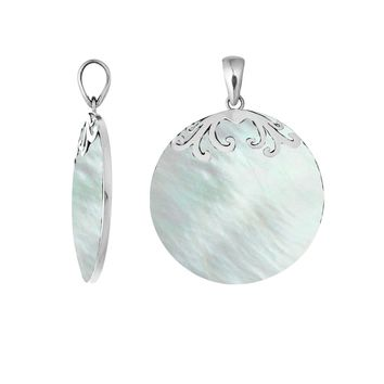 AP-7033-MOP Sterling Silver Designer Pendant With Round Mother Of Pearl