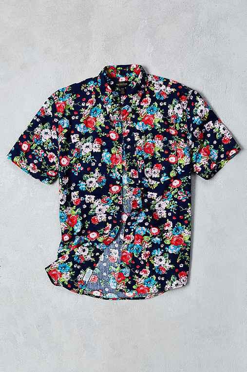 4d651e82daf CPO Navy Rose Floral Print Short-Sleeve from Urban Outfitters