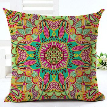 Paisley Cushion Cover Bohemian Style Pillow Cover Cotton Linen Square Cushion Cover for Sofa Home Decorative Throw Pillows Cover