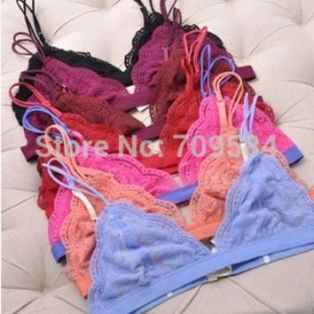 Hone for yd ew ultra-thin sexy soft lace color block decoration wireless comfortable bra underwear