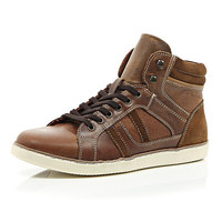 River Island MensBrown perforated panel high tops