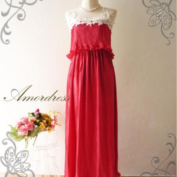 Amor Vintage Inspired Gorgeous Romance Red Maxi Dress by Amordress