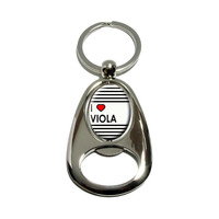 I Love Heart Viola Spinning Oval Bottle Opener Keychain