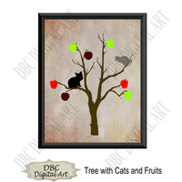 Printable wall art, tree fruits & cats wall art, wall decor, original wall art, home décor, digital art, digital download, instant download