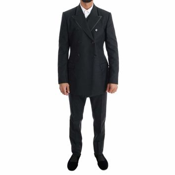 Dolce & Gabbana Gray Wool Double Breasted 3 Piece Suit