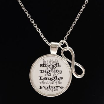 Proverbs 31:25 She Is Clothed In Strength Infinity Bible Scripture Necklace