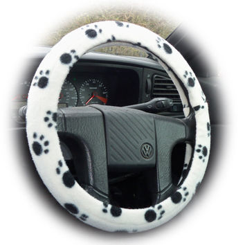 Cute Black and white Paw print fleece car steering wheel cover