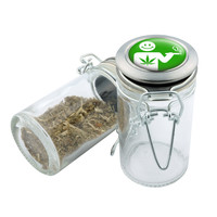 Glass Stash Jar - Smile Weed - 75ml Storage Container -  Secret Stash Box for Custom Herb Grinder - Stay Fresh Herbs 1/6 oz.