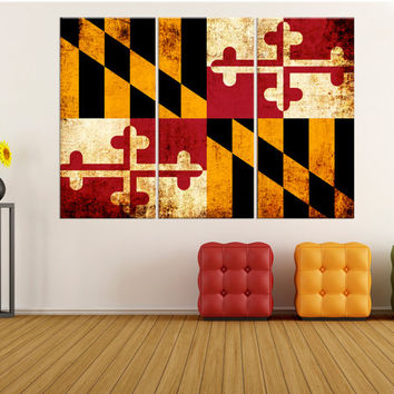 maryland state flag wall art canvas Print, stretched flag canvas print, extra large canvas art, maryland flag wall art 8s78