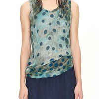 JNBY Women's Printed Silk Vest Top (Small, Light Green)