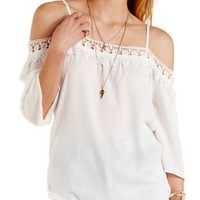 Ivory Crochet-Trim Cold Shoulder Chiffon Top by Charlotte Russe