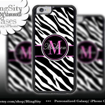 Monogram Black Zebra Print Iphone 6 case 6 Plus Hot Pink Personalized Name Iphone 4 4s 5 5s 5c 6 6+ Ipod Touch Cover