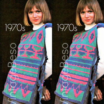Tabard KNITTING Pattern has a Peruvian Inspired Design is Vintage 1970s Instant Download PDF Digital Pdf