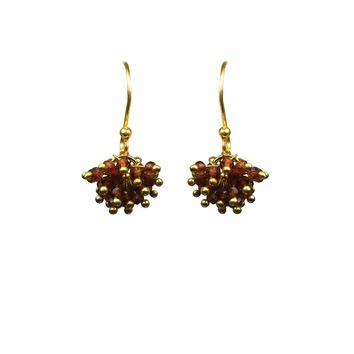 Garnet Cluster Vermeil Earrings