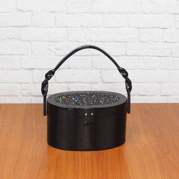RARE 1950s Jeweled Wilardy Sweetheart Purse | Vintage Black Lucite Box Purse