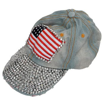 Hot Light Blue Vintage American Flag Pattern Rhinestoned Denim Baseball Cap Sun Hat For Women