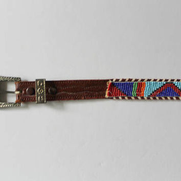 Vintage Leather Seed Bead Native American Southwest Belt with Longhorn Buckle 1970s