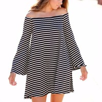 BETTER WHEN I'M DANCING DRESS - BLACK AND WHITE STRIPE