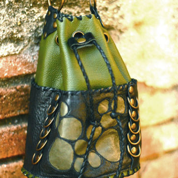 Black and green urban pixie couture casual textured hippie chic leather bucket bag