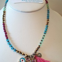 eBlueJay: Adjustable Colorful Beaded Necklace Evil Eye Butterfly Sunflower Multi Color Boho Jewelry