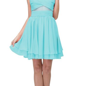 Tiffany Blue Homecoming Short Dress with Sheer Cut-Outs