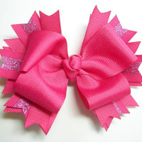 Monochrome Hot Pink Boutique Bow with Glitter