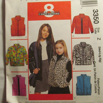 SALE Uncut McCall's Sewing Pattern, 3350! Medium/Large/XL/Girls/Kids/Child/Fleece Jackets/Collared Coats/Sleeveless Vests/Zip up Jacket/Coat