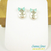 Kitty Cat Mint Bow Petite Earrings Summer FallTrends