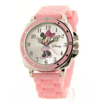 Disney Womens Minnie Mouse Pink Rubber Strap Watch Mn1063