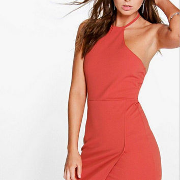 Backless Halter Front Slit Dress