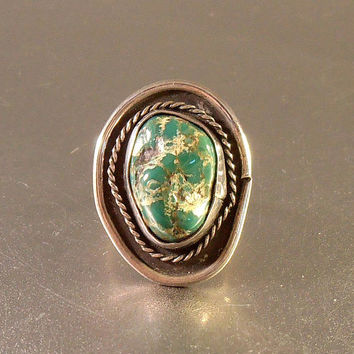 Southwestern Sterling Green Turquoise Ring, Size 6.5, Native American