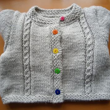 Girl's jacket, handmade knitted knit. Size of 8-10 years.