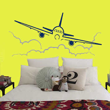Wall Decals Air Plane Flying Through Clouds Sky Interior Design Living Room Home Vinyl Decal Sticker Boy Kids Nursery Baby Room Decor kk795