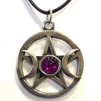 Pentacle Star with Moons and Colored Glass Wiccan Pewter Pendant Charm Necklace