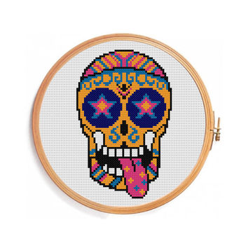 Sugar skull star cross stitch pattern / PDF INSTANT DOWNLOAD