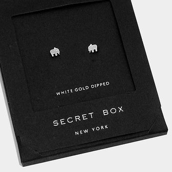 White Gold Dipped Elephant Stud Earrings With Secret Box