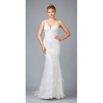 Mermaid Off White Long Wedding Dress with Appliques