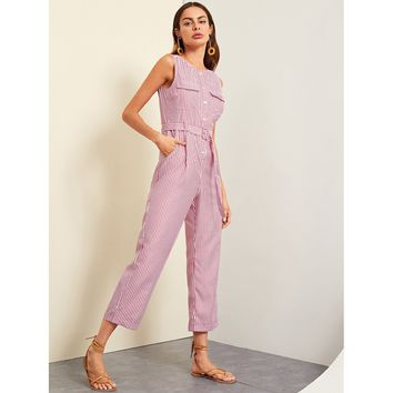 Burgundy Button Front Rolled Hem Palazzo Striped Jumpsuit