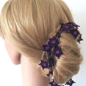 Bridal Hair Accessory / Necklace Crochet Black Star Flowers Purple Beads, Beaded Jewellery, Beadwork, Crochet ReddApple, Gift Ideas for Her