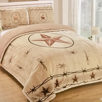 Western Star 3Pc Borrego Fleece Comforter Set