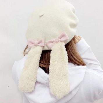 Women Girls Lolita Style Bow Tie Winter Warm Rabbit Cospaly Hat With Ears Xmas Gift