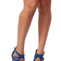 Cobalt Faux Nubuck Diamond Cut Pointed Toe Ankle Strap Heels