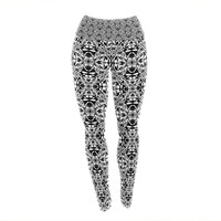 "Mydeas ""Diamond Illusion Damask Black & White"" Pattern Yoga Leggings"